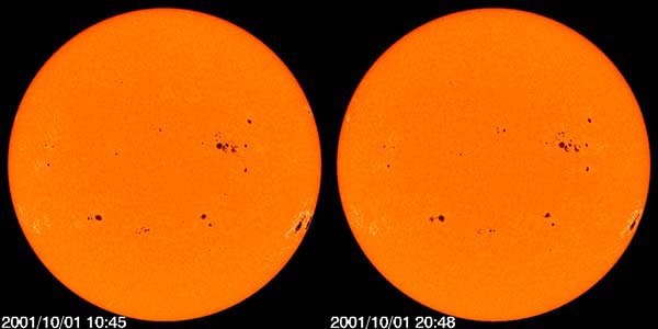 Солнечные пятна в видимом спектре