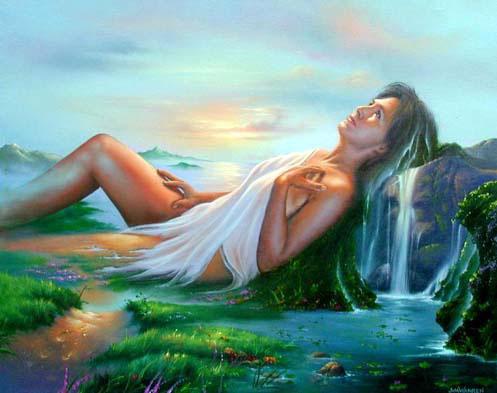 Портрет на фоне зеленого леса мечтаний