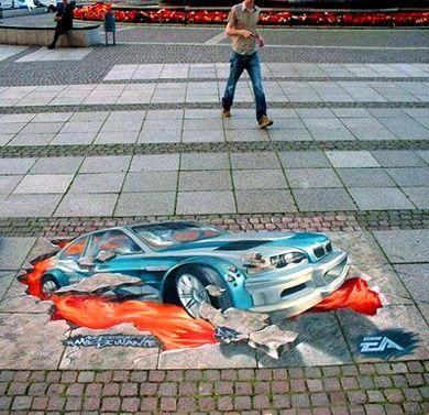 Рисунок на тротуаре