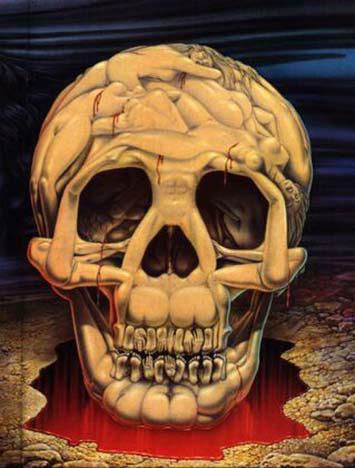 Кровавый череп из тел