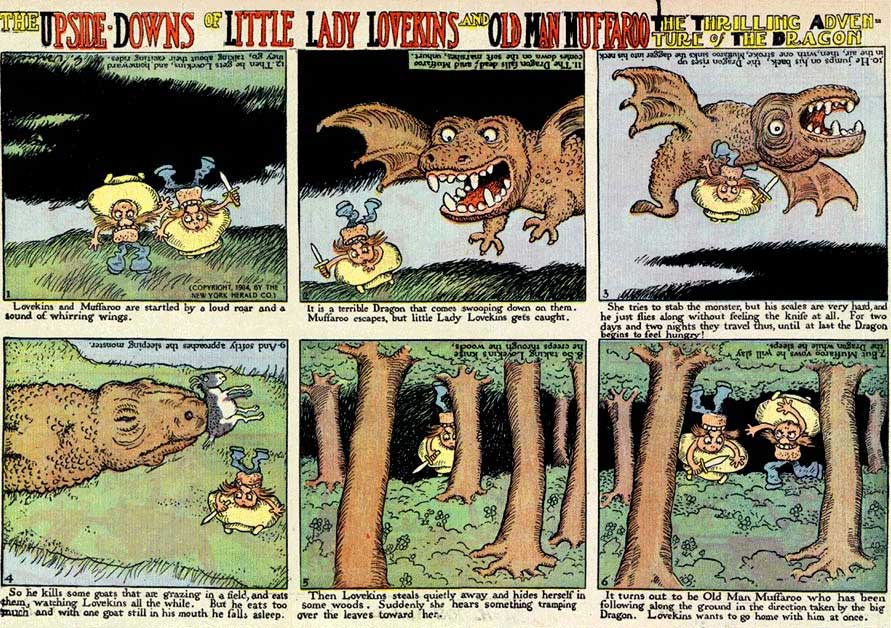 Comics upside-downer from the series Little lady Lawkins and Old Man Muffary.