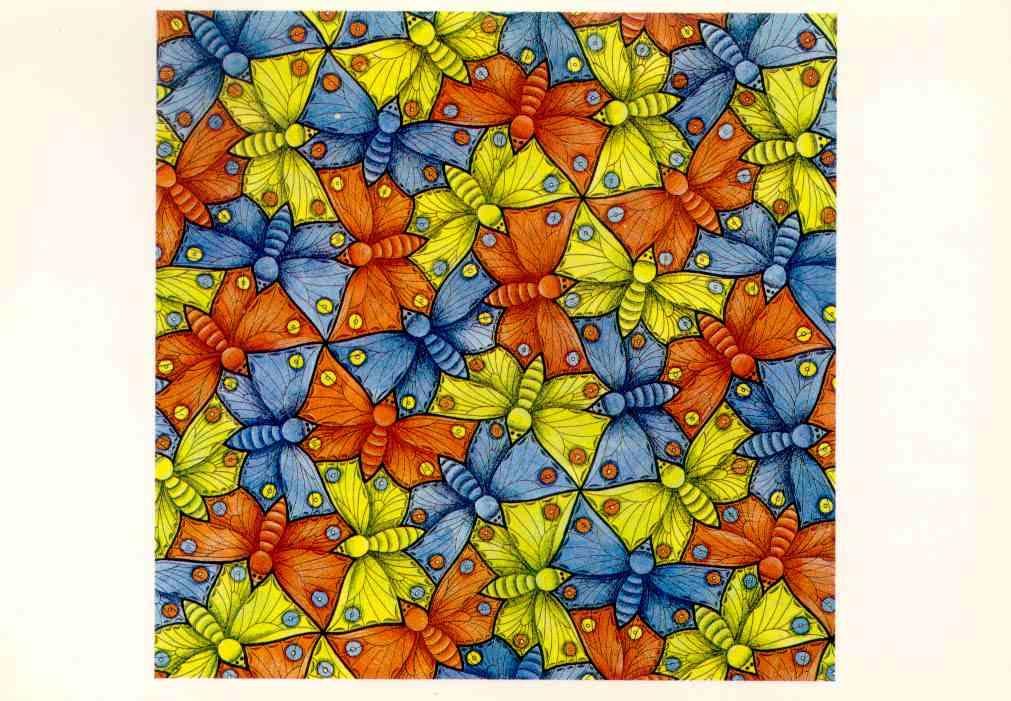 Симметричная мозаика из бабочек Эшера