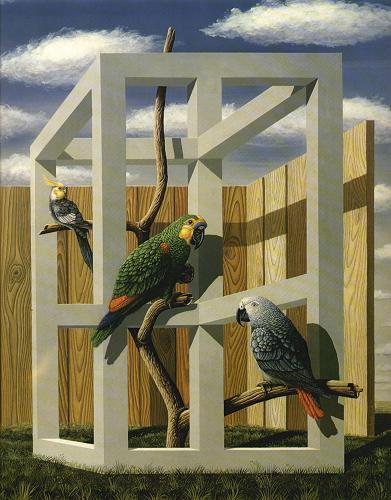 Попугаи на невозможном строении