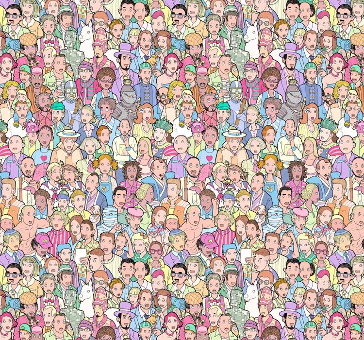 Толпа. Мозаика Сета Фишера