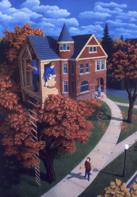 Осенний домик на дереве