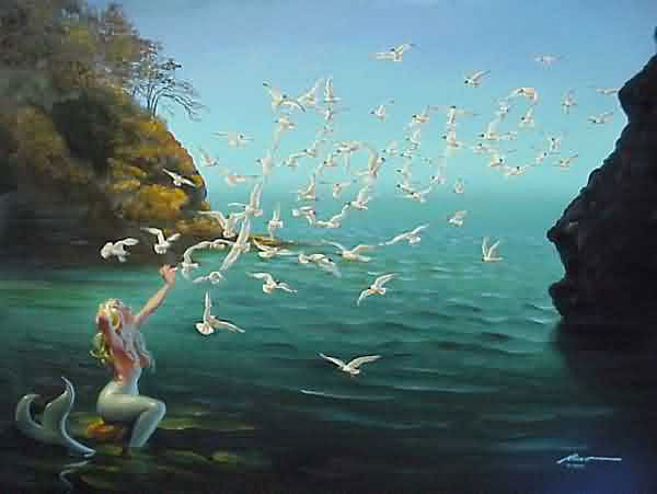 A mermaid with seagulls