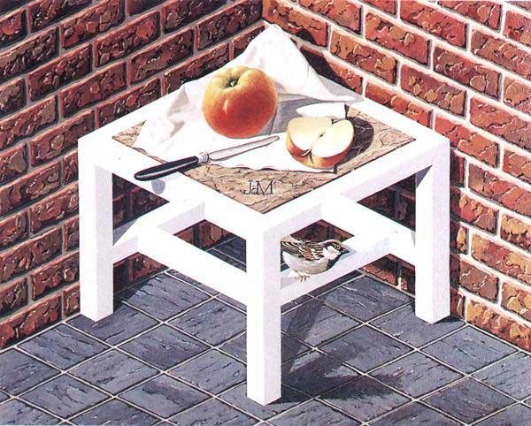 Натюрморт с яблоками на столе