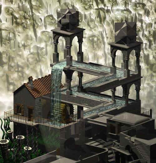Интерпретация невозможного водопада Эшера