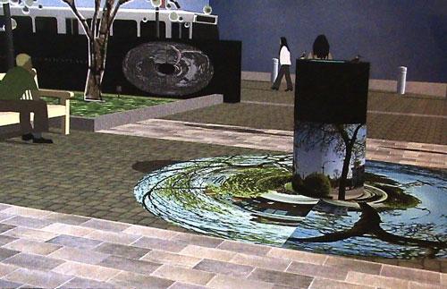 скульптура из стекла цилиндрической формы с изображением-мозайкой
