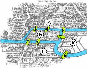 Старинная карта Кёнигсберга. Буквами обозначены части города: А — Альтштадт, Б — Кнайпхоф, В — Ломзе, Г — Форштадт. Цифрами обозначены мосты (в порядке строительства): 1 — Лавочный, 2 — Зелёный, 3 — Рабочий, 4 — Кузнечный, 5 — Деревянный, 6 — Высокий, 7 — Медовый