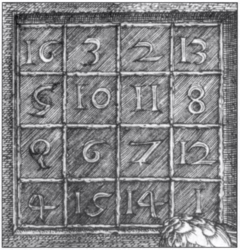 Магический квадрат 4×4, изображённый на гравюре Альбрехта Дюрера «Меланхолия I», считается самым ранним в европейском искусстве.