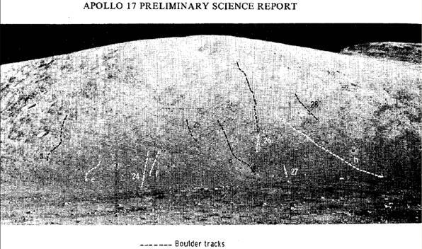 На приведенной фотографии есть следы не только ползущих вниз камней и валунов, но и следы, оставленные при движении камней вверх! Именно это видно при внимательном изучении показанной панорамы.