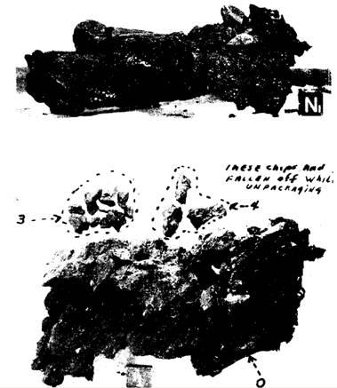 Вес 160 грамм, 13х6х6, плотность вдвое меньше средней для лунных камней, видны сильные следы разложения.
