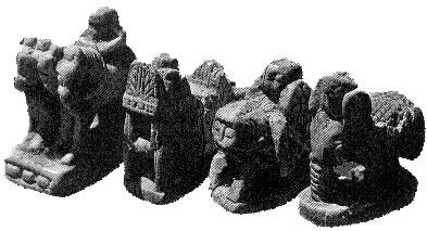 Король, ладья, ферзь, слон. Афрасиаб, VII-VIII вв. Слоновая кость.