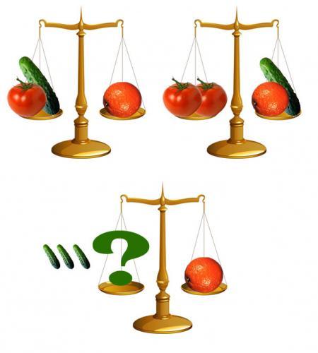 Сколько огурцов надо положить на весы, чтобы уравновесить один апельсин?