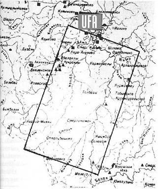 На приведённой ниже схеме обозначен довольно обширный участок местности от Уфимской возвышенности до современного города Мелеуза, который охватывает древняя карта.