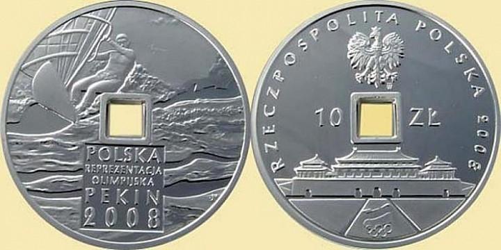 Польская монета в 10 злотых, посвященная Олимпийским играм 2008 года в Пекине
