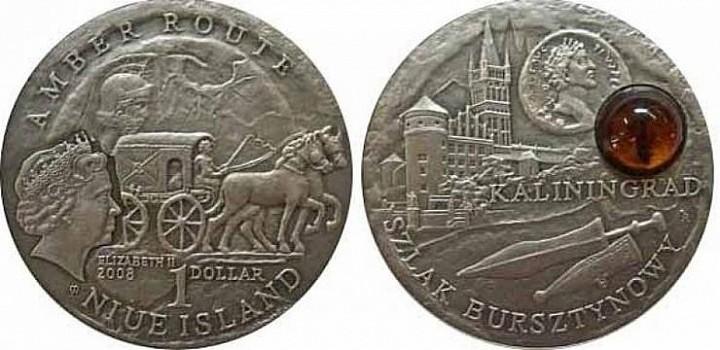 Острова Ниуэ, 2008 год. «Калининград», монета из серии «Янтарный путь», 1 доллар