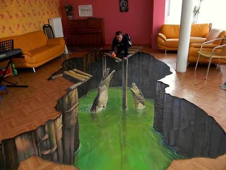 Крокодилы в гостиной. Все тот же Николай Арндт нарисовал этих крокодилов в гостиной дома. Создается впечатление, что под линолеумом все это время был целый мир.