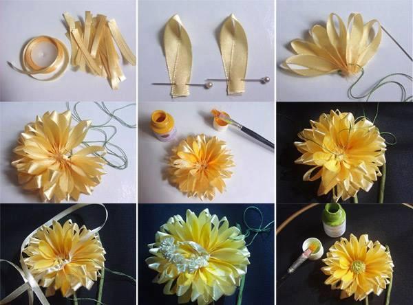 Симпатичный цветочек из лент