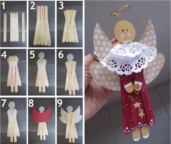 Как сделать ангелочка из палочек от мороженого