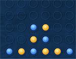 Поставь 4 шарика в ряд или по диагонали