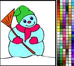 Добрый снеговик с метлой