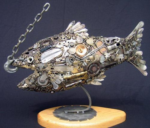 Птицы и рыбы из железных предметов: Рис.9
