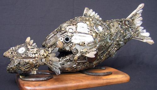 Птицы и рыбы из железных предметов: Рис.16